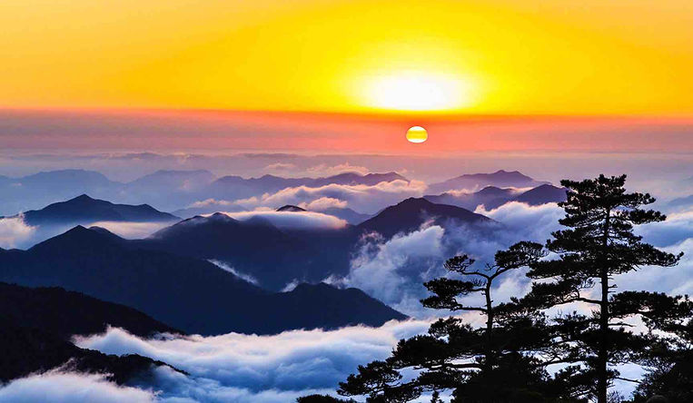 Sunrise, Clouds of Sea, and Pines of Huangshan Mountain