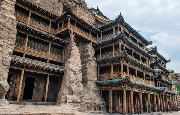 Protective Buildings Constructed in 1651 in front of in Caves 5, 6, and 7 of the Yungang Grottoes
