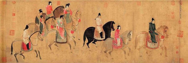 Yang Gui Fei's Sister the Lady Guoguo and Her Guards (Guoguo Fu Ren You Chun Tu), Painted by Artist Zhang Xuan of the Tang Dynasty.