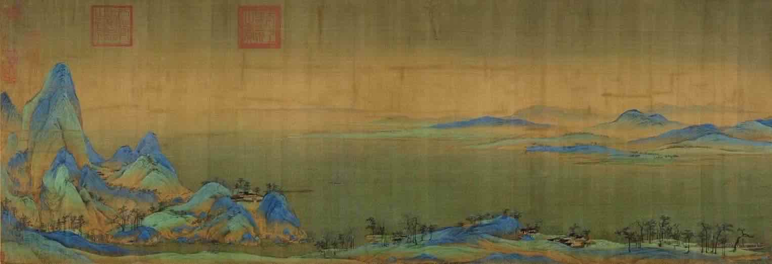 Painting Thousands Miles of Mountains and Rivers (Qian Li Jiang Shan Tu), by Artist Wang Ximeng of the Song Dynasty, Part 1