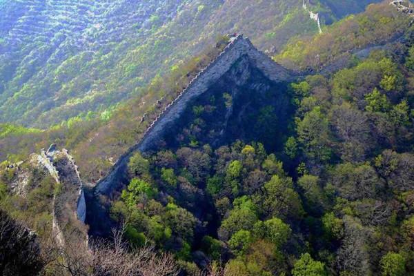 Great Wall on Steep Mountain Ridges.