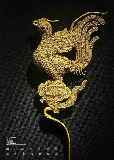 Golden Filigree Chinese Phoenix Hairdress of the Ming Dynasty (1368 — 1644)