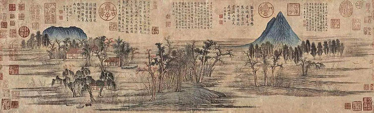 """Qianlong Emperor's Seals and Commentary Writing Characters in the Painting """"Que Hua Qiu Se Tu"""" of Artist Zhao Mengfu (1254 — 1322)"""