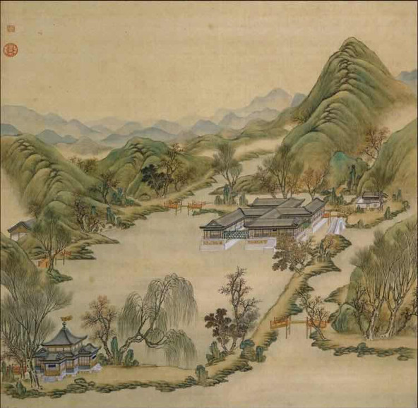 """Part of Court Painting """"Forty Scenes of the Old Summer Palace"""" (Yuan Ming Yuan Si Shi Jing Tu Yong) of the Qing Dynasty 9"""