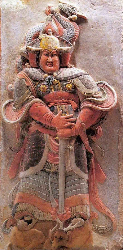 Painted Stone Sculpture of Warriors of the Five Dynasties and Ten Kingdoms