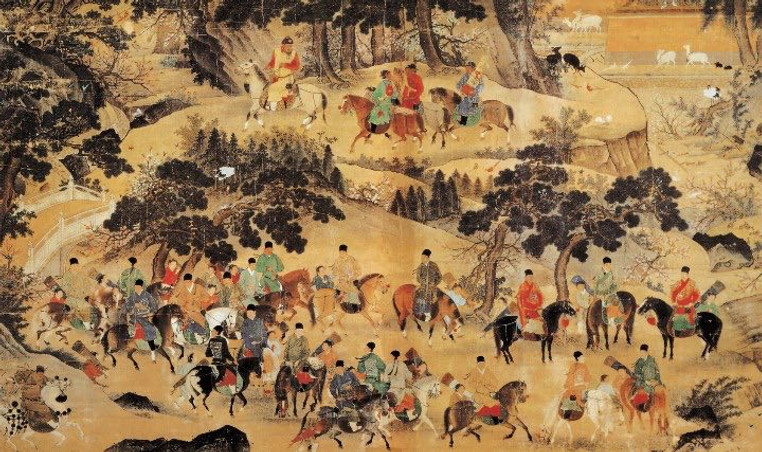 Xuande Emperor Zhu Zhanji Hunting Activity (Ming Xuanzong Xing Le Tu), Painted By Shang Xi the Commander of Court Secret Agency (Jin Yi Wei)
