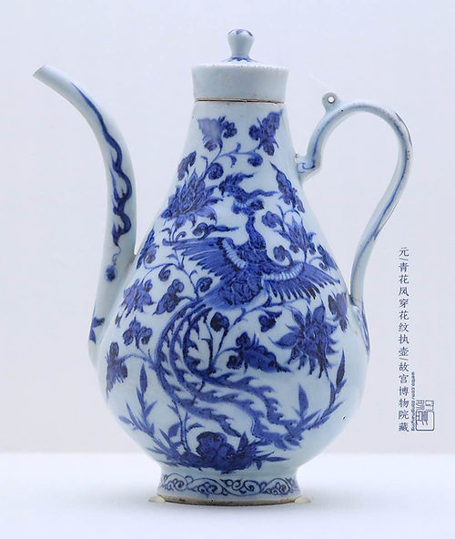 Chinese Phoenix Fenghuang Pattern on Blue and White Porcelain of the Yuan Dynasty