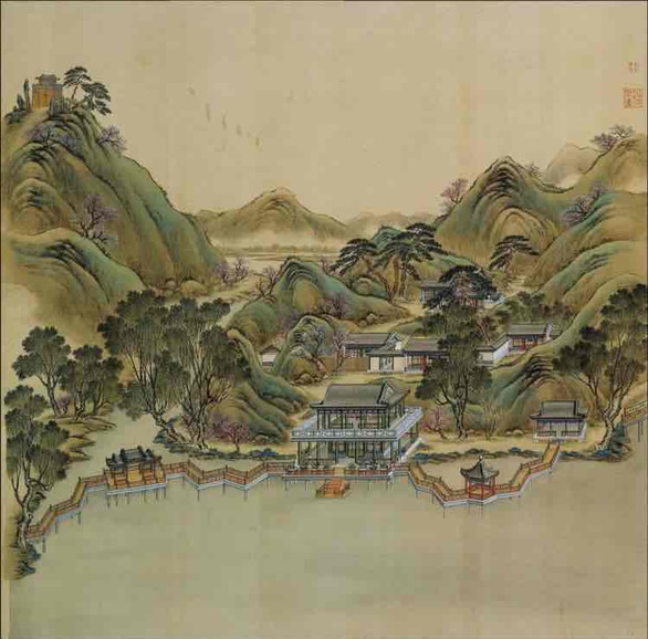 """Part of Court Painting """"Forty Scenes of the Old Summer Palace"""" (Yuan Ming Yuan Si Shi Jing Tu Yong) of the Qing Dynasty 8"""
