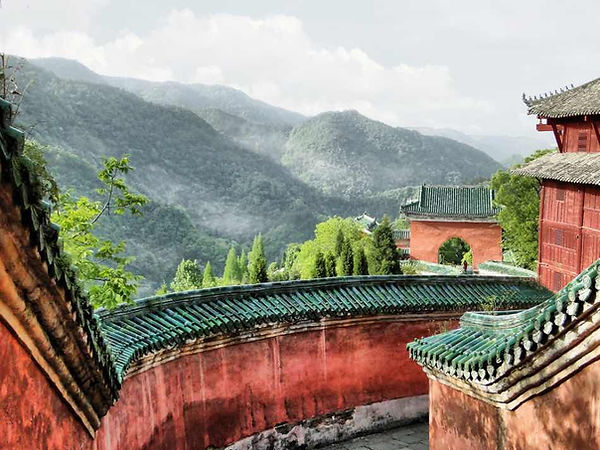 Part of Buildings on Slope of the Fuzhen Temple or Taizi Po of Wudang Mountains