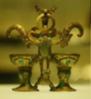 Unearthed Bronze Bind-Cups (He Jin Bei) of the Han Dynasty (202 BC — 220 AD) that used for A Couple to Drink Cross-Cupped Wine on Their Wedding