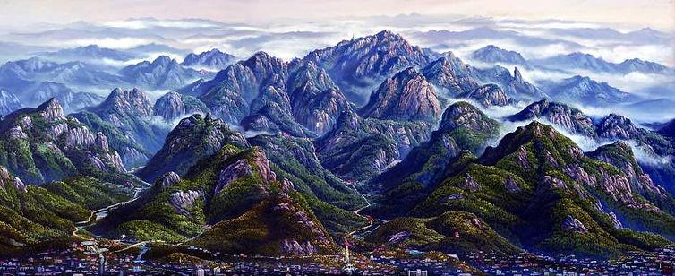 Panorama Painting of Mount Tai