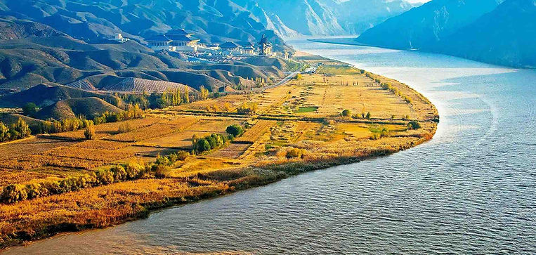 Farmland and Ancient Buildings next to Yellow River or Huang He in Ningxia Province