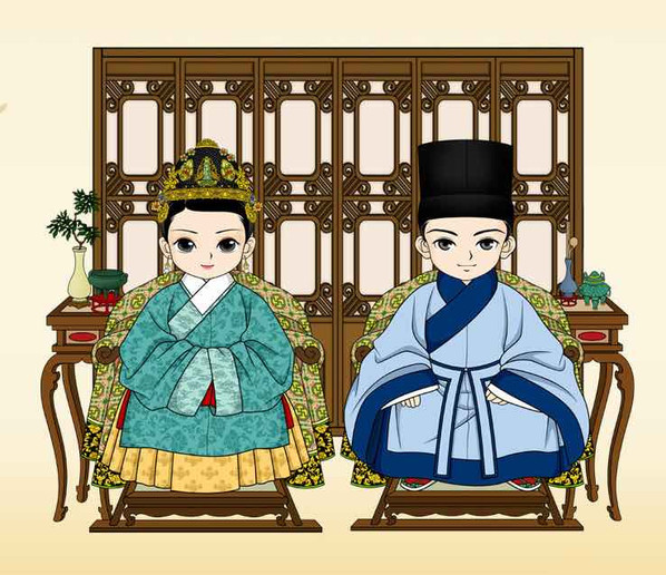 Common Hairstyle and Costumes of A Civilian Couple of the Ming Dynasty (1368 — 1644)