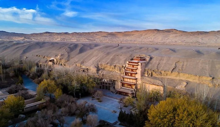 Panoramic of Mogao Grottoes in Dunhuang