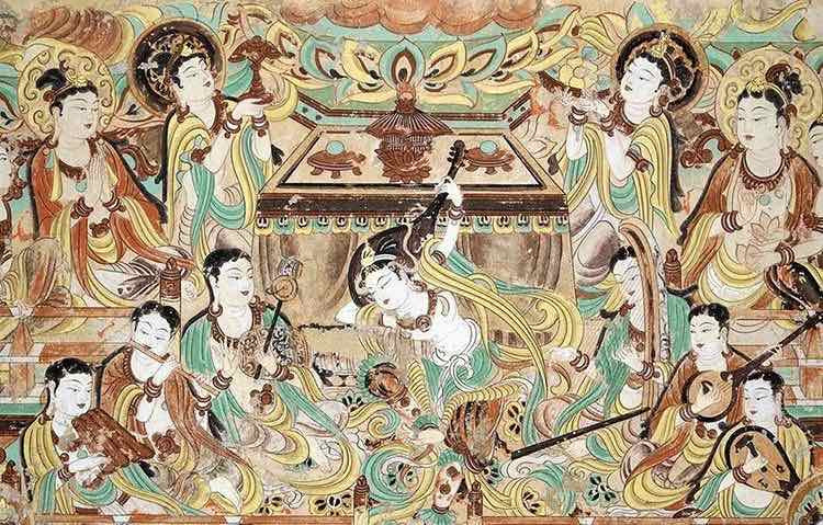 Musical Instruments and Dancing, Mogao Cave 112.