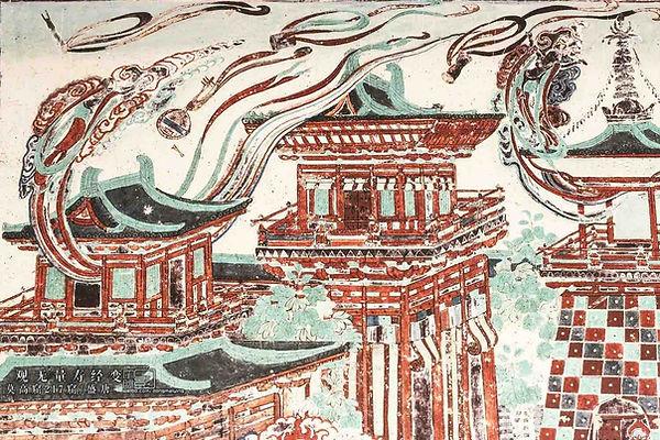 "Part of Tang Dynasty Mural ""Guan Wu Liang Shou Jing Bian"" in the 217th Cave of Mogao Grottoes"