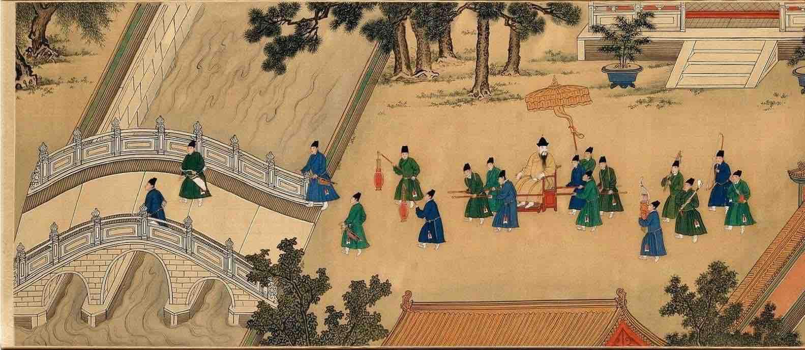 """Painting """"Zhu Zhanji Xing Le Tu"""" Presenting Emperor Zhu Zhanji's Entertainment Activities in the Royal Palace Part 1"""
