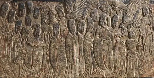 Ceremony and Costumes - Carving of Emperor Xiaowen Worshiping Buddha Used to in Central Binyang Cave, Now in The Metropolitan Museum of Art.