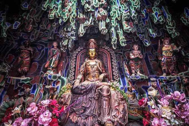 The Statue of Bodhisattva Manjusri in Shuxiang Temple