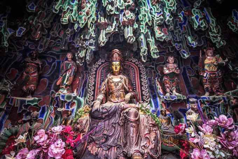 The Statue of Bodhisattva Manjusri in Shuxiang Temple