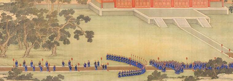 """Part of Painting """"Yongzheng Ji Xian Nong Tan Tu"""", About Yongzheng Emperor Worshiping the Deities of Agriculture 1"""