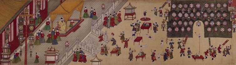 "Part of the Court Painting ""Ming Xianzong Yuan Xiao Xing Le Tu"", Presenting Emperor Zhu Jianshen's Entertainment Activities in the Royal Palace During the Lantern Festival"