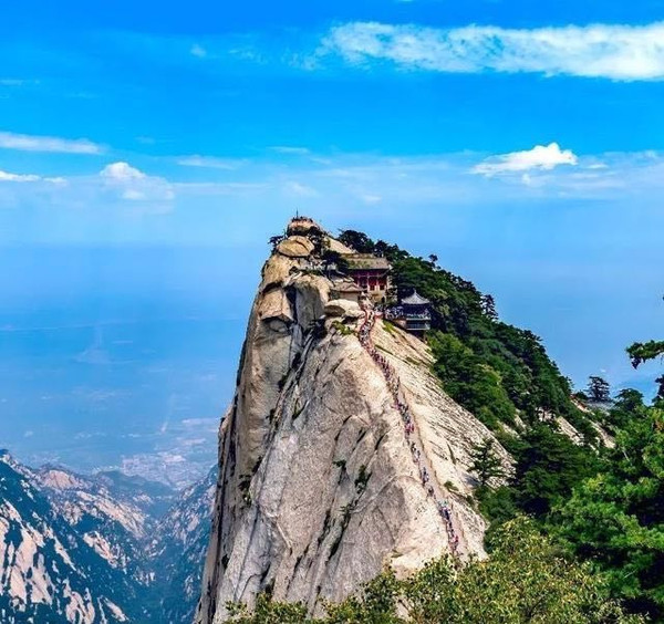 Ancient Temples on Precipitous Peak of the Mount Hua