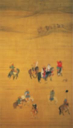 Painting of Emperor Kublai Khan's Hunting (Yuan Shi Zu Chu Lie Tu), By Artist Liu Guandao of the Yuan Dynasty