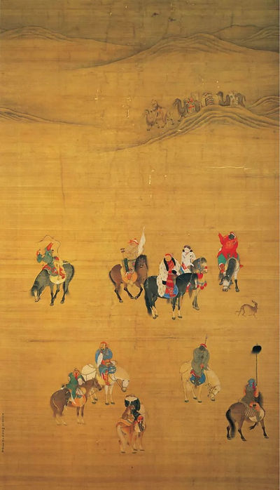 Painting of Emperor Kublai Khan's Hunting (Yuan Shi Zu Chu Lie Tu), By Artist Liu Guandao of the Yuan Dynasty