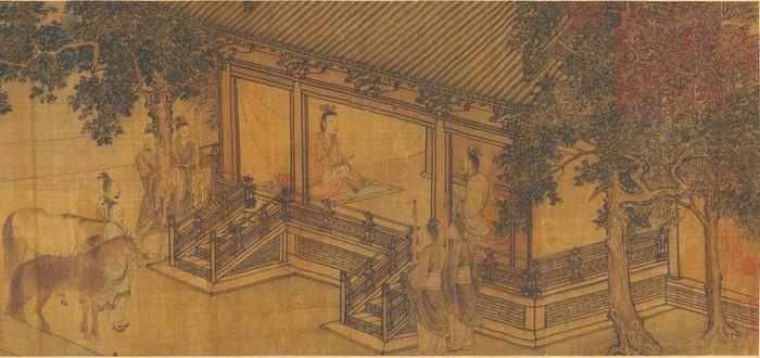 "Part of Painting ""Jin Wen Gong Fu Guo Tu"", Described Duke Wen of Jin's Recovering of His Empire, by Artist Li Tang (1066 - 1150)"