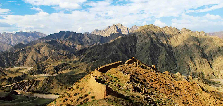 Yellow River and Helan Mountain in Guidegou Geology Park in Ningxia Province
