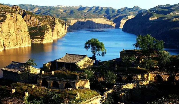 Ancient Buildings on Laoniu Bay of Yellow River in Shanxi Province and Inner Mongolia