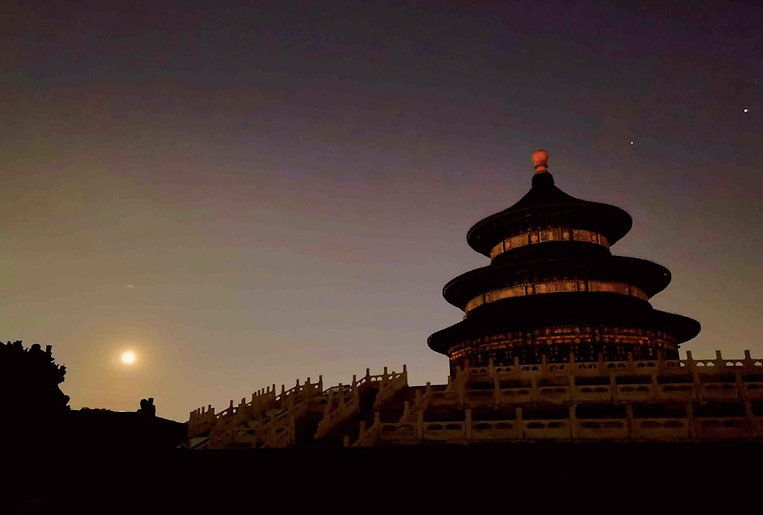 Qi'nian Dian or Hall of Prayer for Good Harvest of the Temple of Heaven Under the Moon