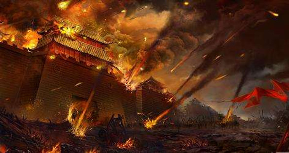 City of Song Dynasty Under Attack of Mongolia Troop