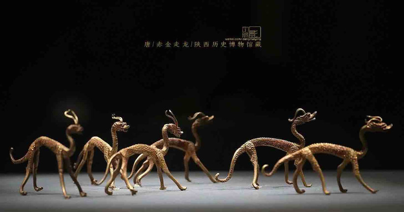 Golden Dragons (Zou Long) that used as Ritual Implements of Taoism Religion Ceremony in the Tang Dynasty — Shaanxi History Museum