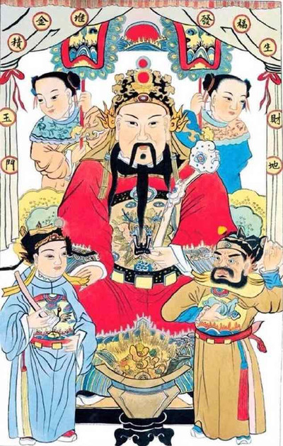 Picture of God of Wealth in Chinese Culture