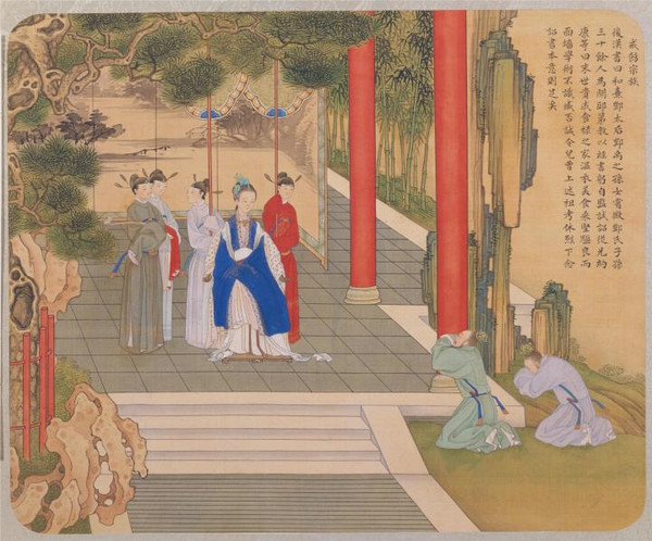 Empress Deng Sui Teaching Her Relatives to Behave Well, Painted by Artist Jiao Bingzhen of the Qing Dynasty