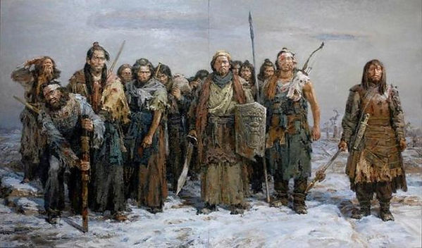Geng Gong and His Soldiers Returning to Yumen Pass, Painted by Zuo Guoshun.
