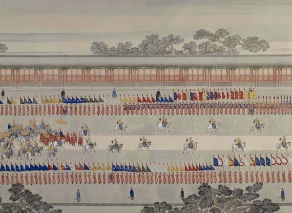 """Part of """"Qianlong Emperor's Southern Inspection Tour"""" (Qianlong Nan Xun Tu), Painted by Xu Yang in 1751"""