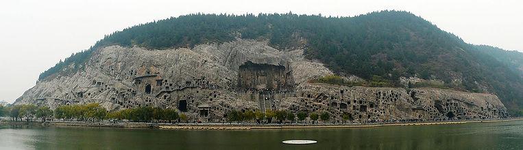Panoramic of Longmen Grottoes in Luoyang