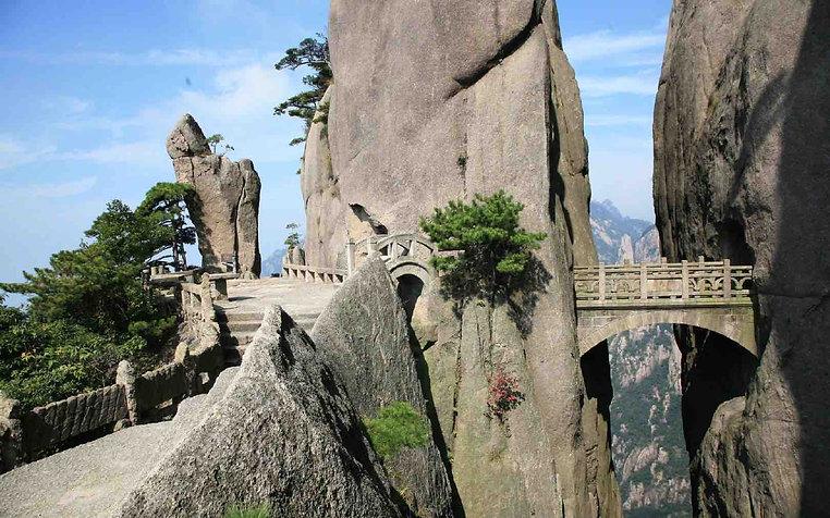 Stone Bridge (Buxian Qiao) Connects Cliffs of Huangshan Mountain.