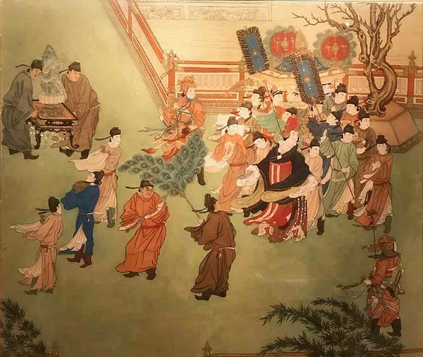 Painting of Queen Wu Zetian Patrolling in the Royal Palace, by Court Artist Zhang Xuan of the Tang Dynasty