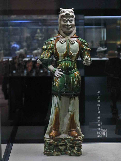 Tri-coloured Glazed (Tang San Cai) Military Official Figurine of the Tang Dynasty
