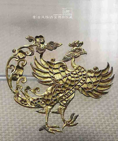 Golden Chinese Phoenix Fenghuang Decoration of the Tang Dynasty