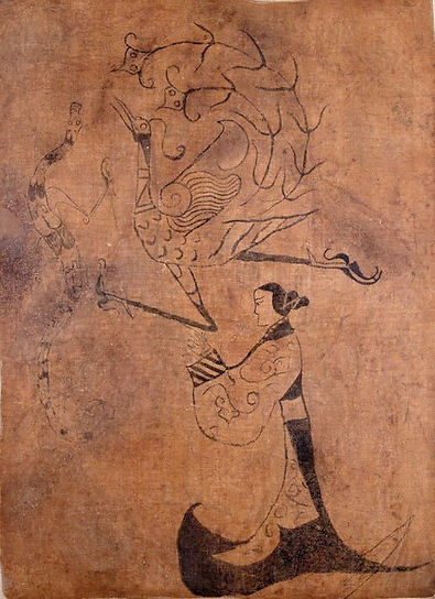 Chinese Phoenix and Dragon on Silk Painting of the Warring States Period