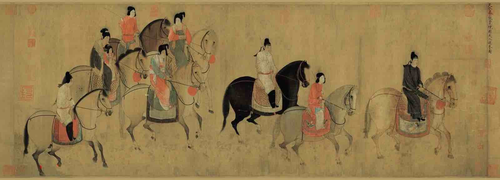 Painting of Lady of Guoguo Spring Outing (148 cm × 51.8 cm) — Liaoning Museum