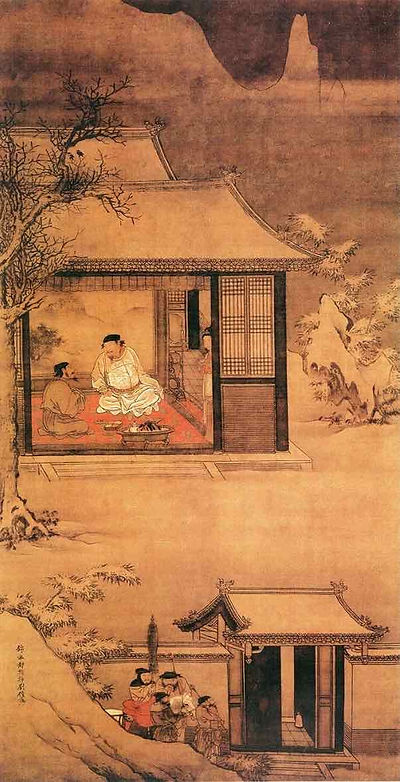 Painting (Xue Ye Fang Pu Tu) About Emperor Zhao Kuangyin Visiting His Trusted Minister Zhao Pu at A Snowy Night