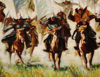 Genghis Khan or Yuan Tai Zu of Yuan Dynasty in History of China and His Cavalry Troop
