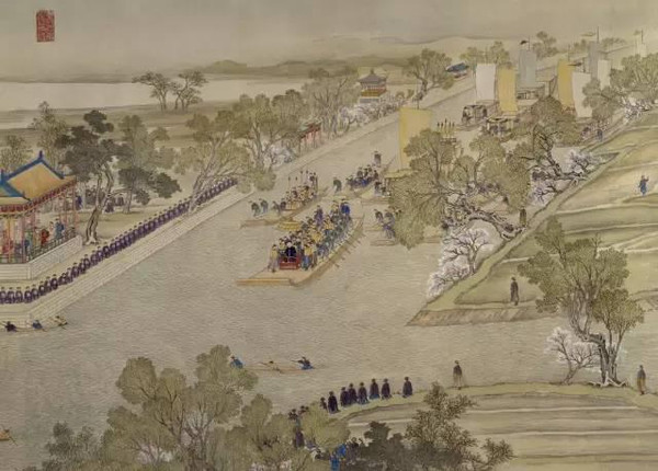 "Part of ""Qianlong Emperor's Southern Inspection Tour"" (Qianlong Nan Xun Tu), Painted by Xu Yang in 1751"