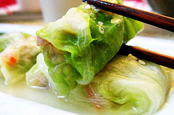 Cabbage Roll Stuffed With Shrimp & Ham